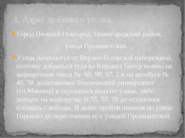 Город Нижний Новгород, Нижегородский район, улица Провиантская. Улица начина...