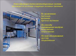 По зоне обслуживания: местная общеобменная По назначению: приточная, вытяжна