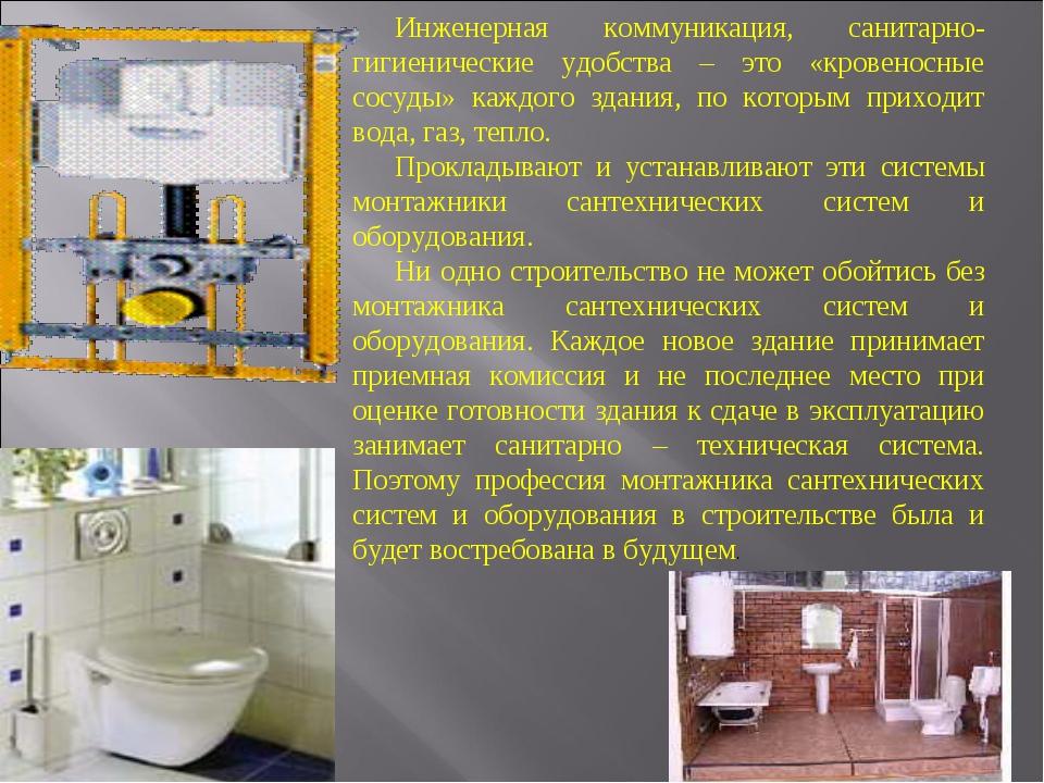 Инженерная коммуникация, санитарно-гигиенические удобства – это «кровеносные...
