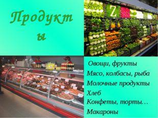 Овощи, фрукты Продукты Мясо, колбасы, рыба Молочные продукты Хлеб Конфеты, то