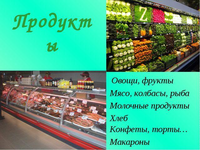 Овощи, фрукты Продукты Мясо, колбасы, рыба Молочные продукты Хлеб Конфеты, то...