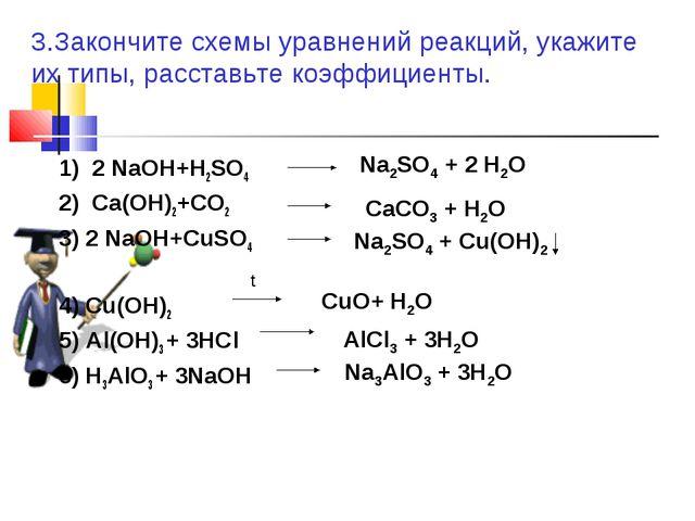 1) 2 NaOH+H2SO4 2) Ca(OH)2+CO2 3) 2 NaOH+CuSO4 4) Cu(OH)2 5) Al(OH)3 + 3HCl 6...