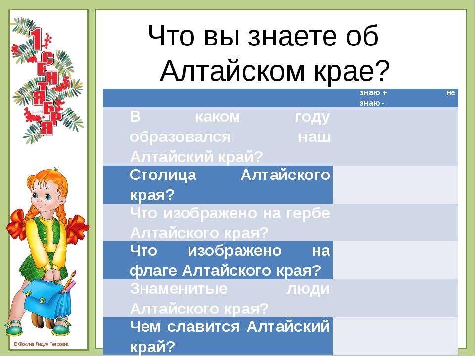 Что вы знаете об Алтайском крае?  знаю+ не знаю - В каком годуобразовалсянаш...