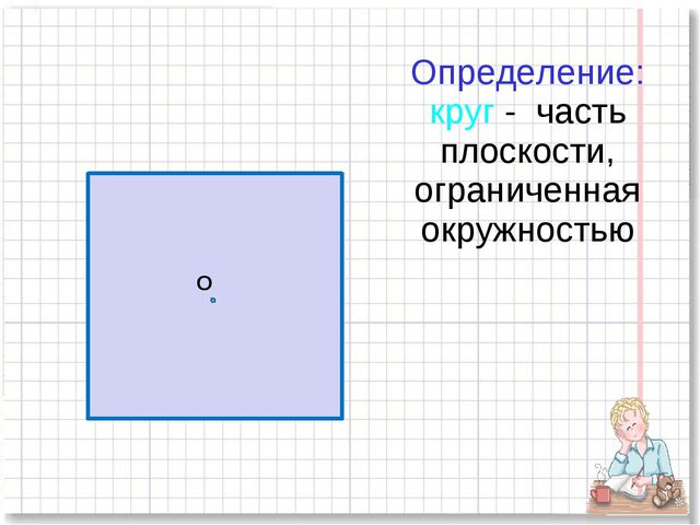 Определение: круг - часть плоскости, ограниченная окружностью О