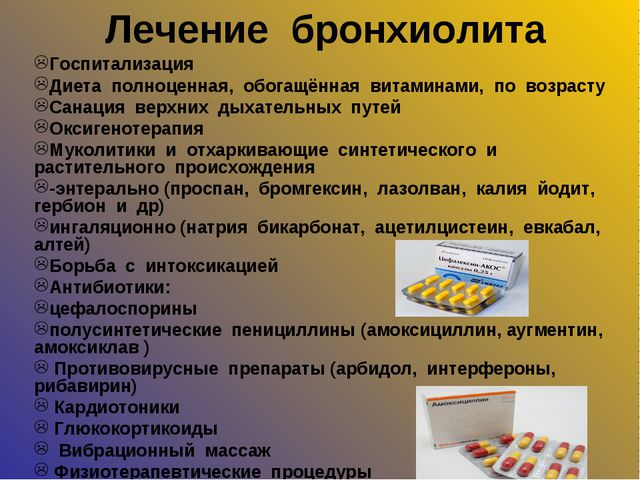 Лечение бронхиолита Госпитализация Диета полноценная, обогащённая витаминами,...