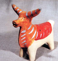 Романовская игрушка-свистулька Бык