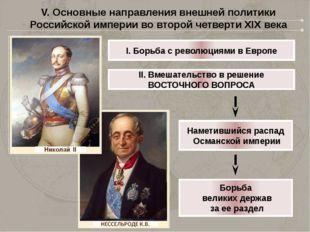 VI. Основные направления внешней политики Российской империи во второй полови