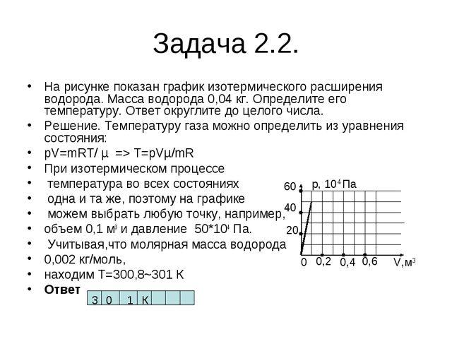 Задача 2.2. На рисунке показан график изотермического расширения водорода. Ма...