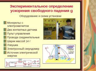 Экспериментальное определение ускорения свободного падения g Монорельс с элек