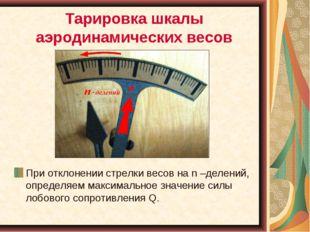 Тарировка шкалы аэродинамических весов При отклонении стрелки весов на n –дел