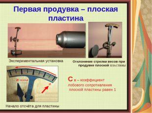 Первая продувка – плоская пластина Отклонение стрелки весов при продувке плос