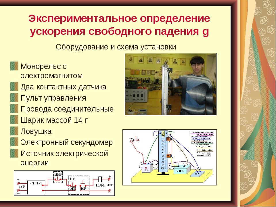 Экспериментальное определение ускорения свободного падения g Монорельс с элек...