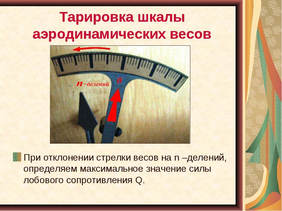 Тарировка шкалы аэродинамических весов При отклонении стрелки весов на n –дел...