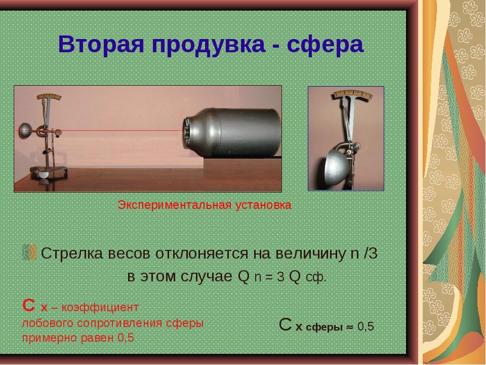 Вторая продувка - сфера Стрелка весов отклоняется на величину n /3 в этом слу...
