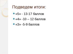 Подведем итоги: «5» - 13-17 баллов «4» -10 – 12 баллов «3» -5-9 баллов