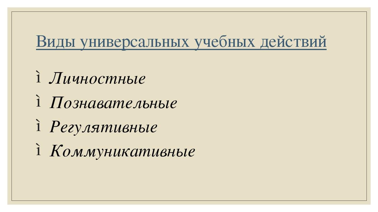 Виды универсальных учебных действий Личностные Познавательные Регулятивные Ко...