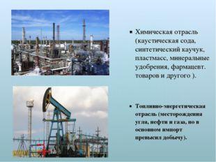 Химическая отрасль (каустическая сода, синтетический каучук, пластмасс, минер