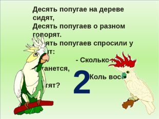 Десять попугае на дереве сидят, Десять попугаев о разном говорят. Десять поп