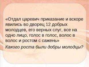 «Отдал царевич приказание и вскоре явились во дворец 12 добрых молодцев, его