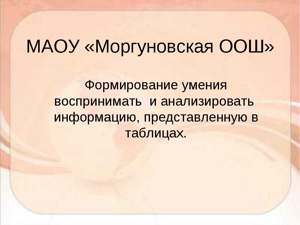 МАОУ «Моргуновская ООШ» Формирование умения воспринимать и анализировать инфо...