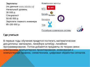 Зарплаты (по даннымwww.rabota.ru) Начальный уровень 30000р. Специалист 50-