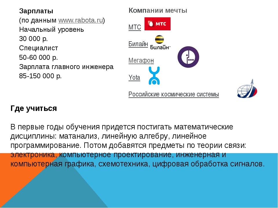 Зарплаты (по даннымwww.rabota.ru) Начальный уровень 30000р. Специалист 50-...