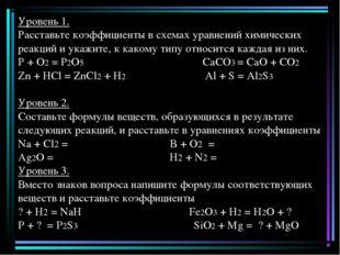 Уровень 1. Расставьте коэффициенты в схемах уравнений химических реакций и у