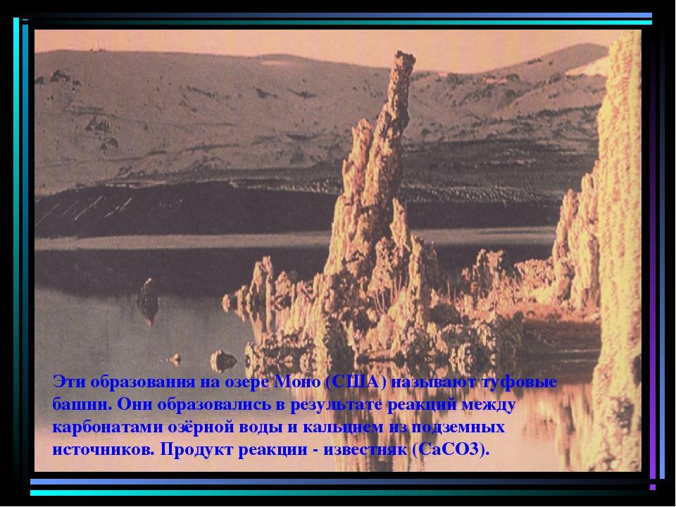 Эти образования на озере Моно (США) называют туфовые башни. Они образовались...