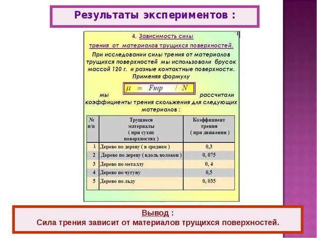 Результаты экспериментов : Вывод : Сила трения зависит от материалов трущихся...