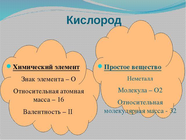 Химический элемент Знак элемента – О Относительная атомная масса – 16 Валент...