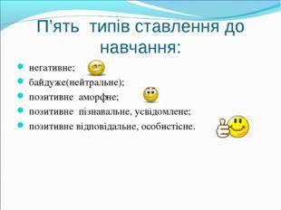 П'ять типів ставлення до навчання: негативне; байдуже(нейтральне); позитивне
