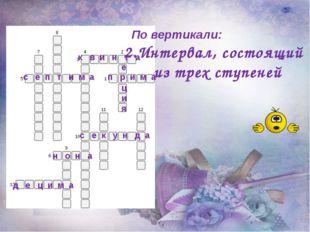 По вертикали: 2.Интервал, состоящий из трех ступеней п р и м а к в и н т а с