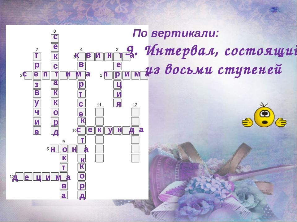 По вертикали: 9. Интервал, состоящий из восьми ступеней п р и м а к в и н т...