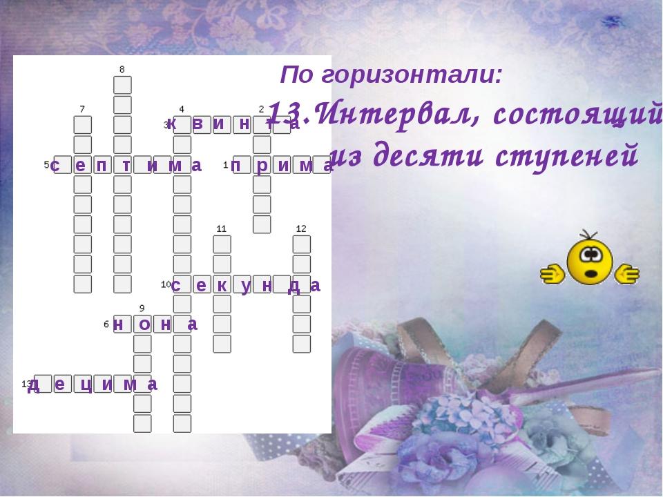 По горизонтали: 13.Интервал, состоящий из десяти ступеней п р и м а к в и н...