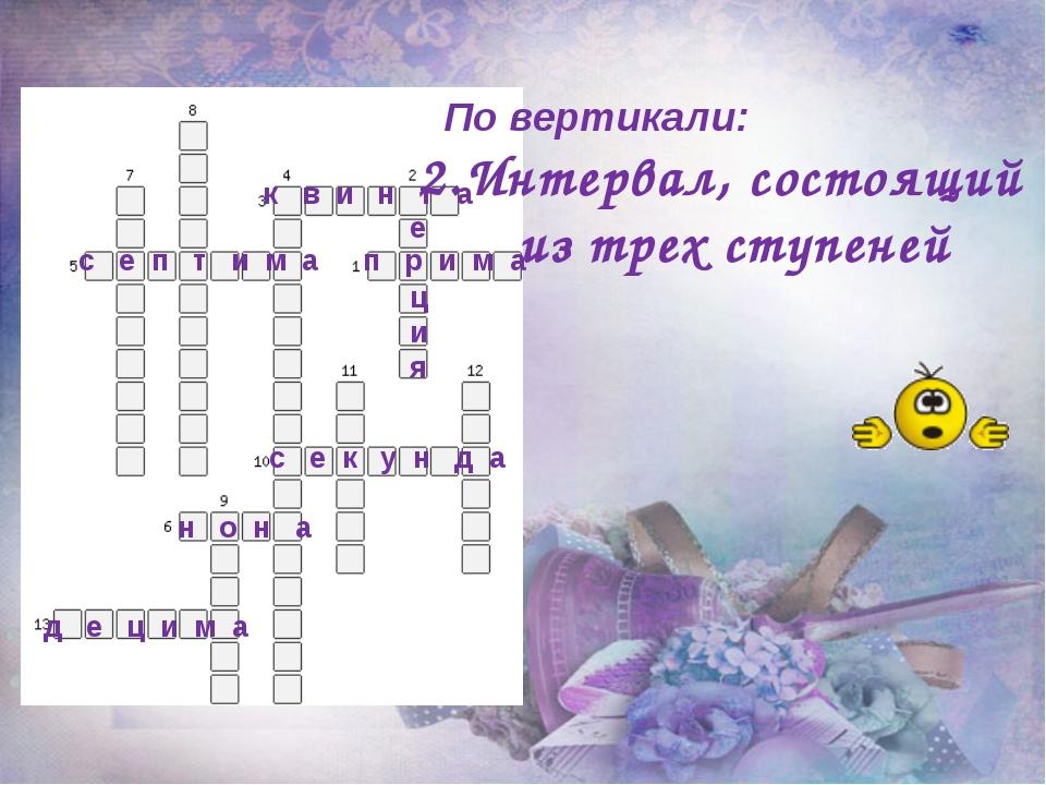 По вертикали: 2.Интервал, состоящий из трех ступеней п р и м а к в и н т а с...