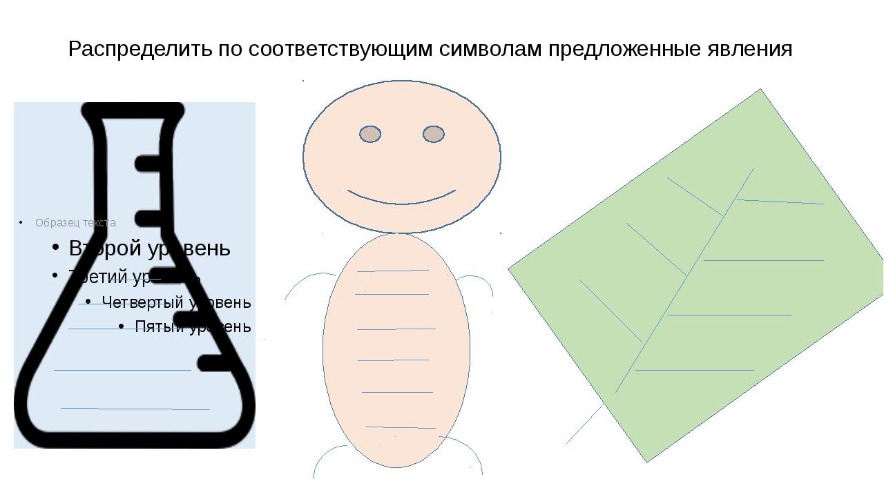 Распределить по соответствующим символам предложенные явления