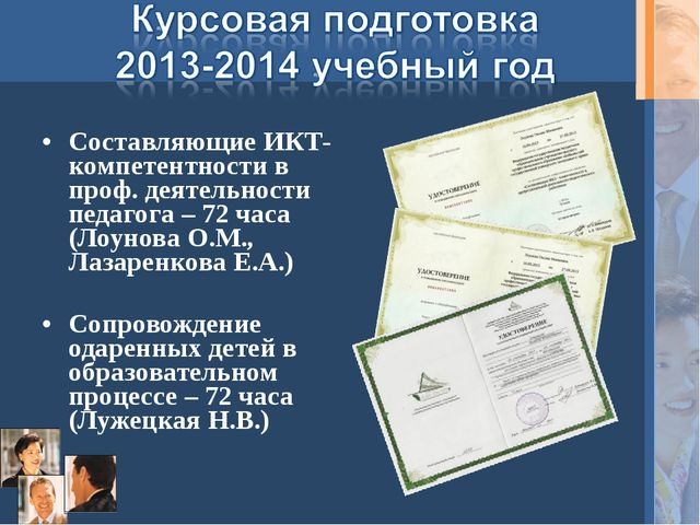 Составляющие ИКТ-компетентности в проф. деятельности педагога – 72 часа (Лоун...