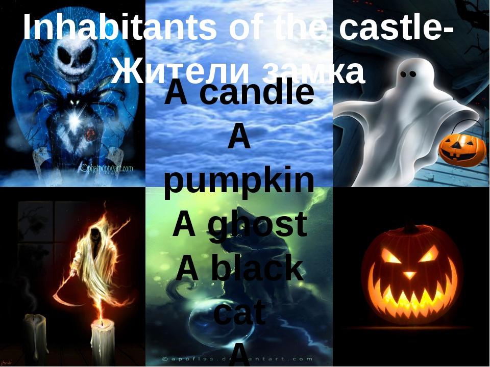 Inhabitants of the castle- Жители замка A candle A pumpkin A ghost A black c...