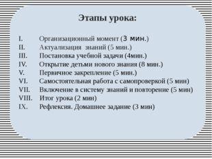 Этапы урока: Организационный момент (3 мин.) Актуализация знаний (5 мин.) По