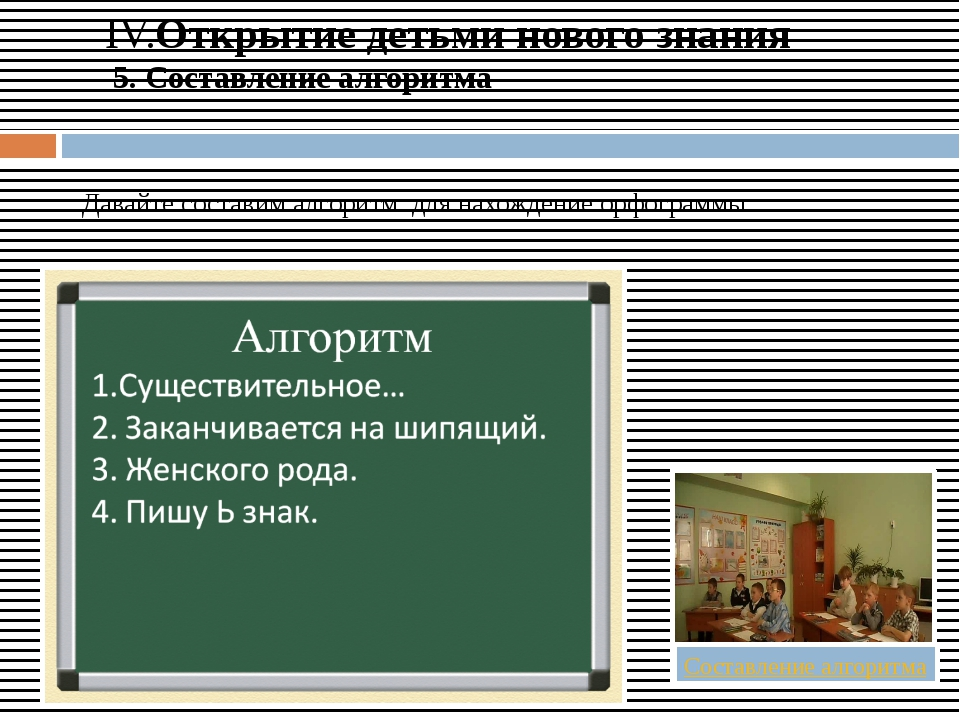 IV.Открытие детьми нового знания 5. Составление алгоритма  Давайте составим...