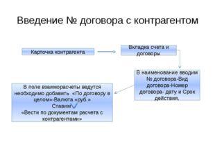 Введение № договора с контрагентом Карточка контрагента Вкладка счета и догов