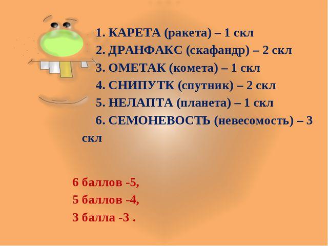 1. КАРЕТА (ракета) – 1 скл 2. ДРАНФАКС (скафандр) – 2 скл 3. ОМЕТАК (комета)...