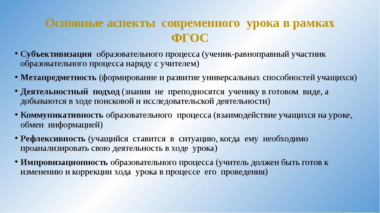 Основные аспекты современного урока в рамках ФГОС Субъективизация образовател...