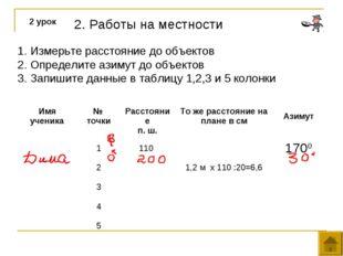 2. Работы на местности 2 урок Измерьте расстояние до объектов Определите азим