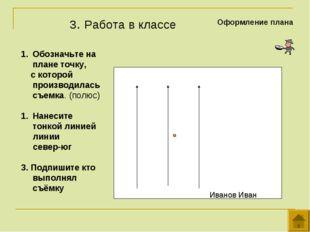 3. Работа в классе Оформление плана Обозначьте на плане точку, с которой прои