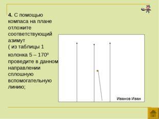 4. С помощью компаса на плане отложите соответствующий азимут ( из таблицы 1
