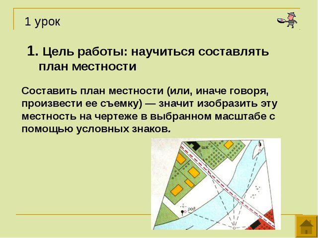 1. Цель работы: научиться составлять план местности Составить план местности...