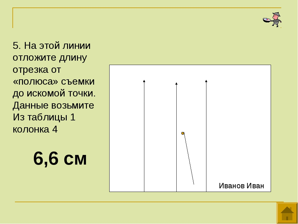 5. На этой линии отложите длину отрезка от «полюса» съемки до искомой точки....