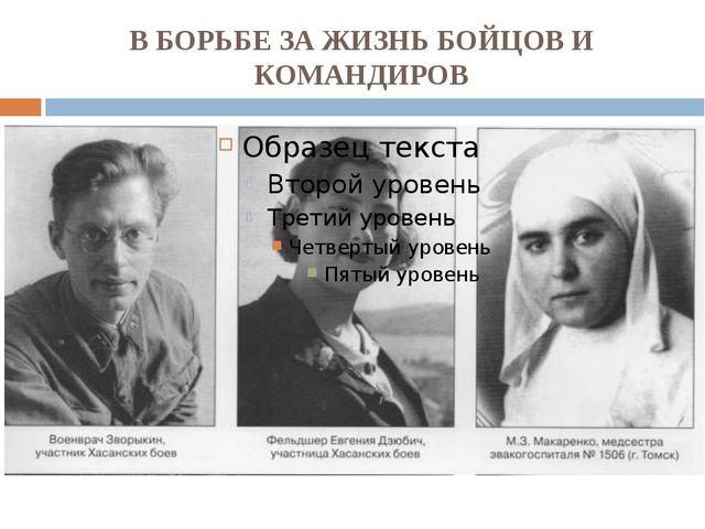 В БОРЬБЕ ЗА ЖИЗНЬ БОЙЦОВ И КОМАНДИРОВ