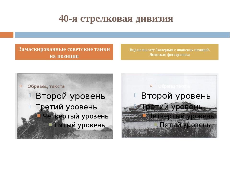 40-я стрелковая дивизия Замаскированные советские танки на позиции Вид на выс...